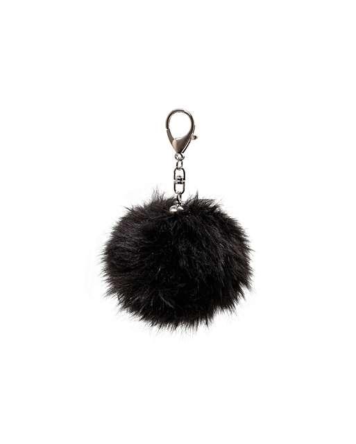 1011296_oliver-bonas_sale_black-faux-fur-pom-pom-keyring